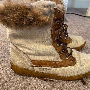 LaMondiale fur boots 38 7.5 Apres Ski